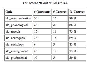 Screen Shot from SLP exam website with question type breakdown