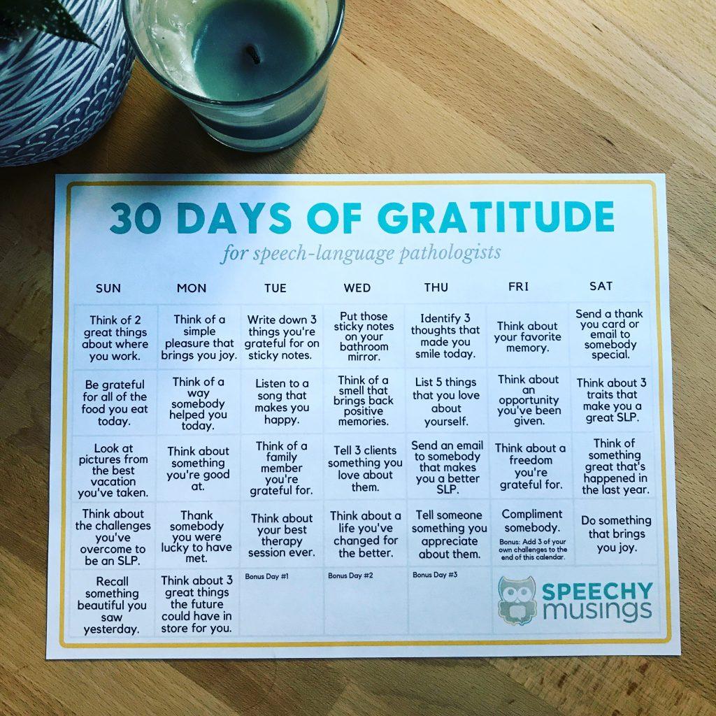 Free 30-Day Gratitude Challenge For SLPs