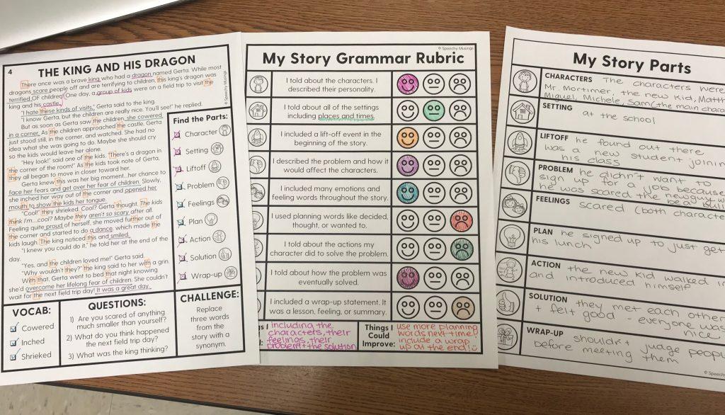 story grammar elements visuals, stories, and rubrics