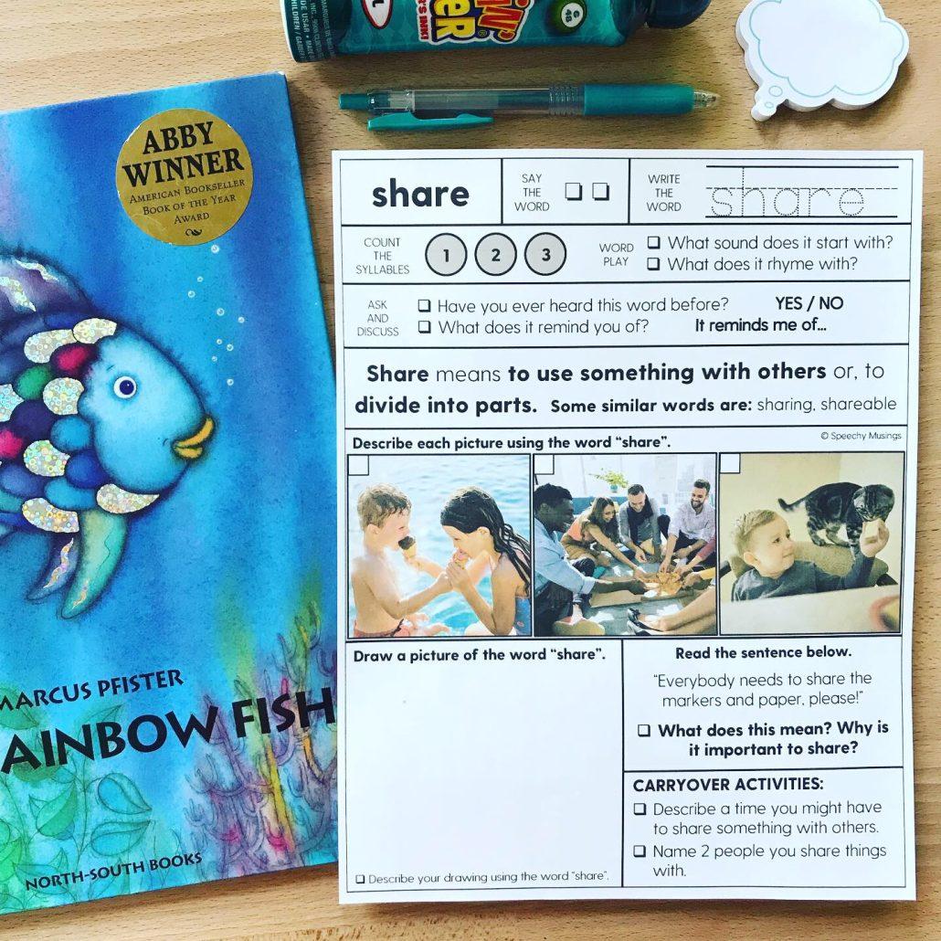 Rainbow Fish speech therapy activities for elementary school, focusing on vocabulary strategies