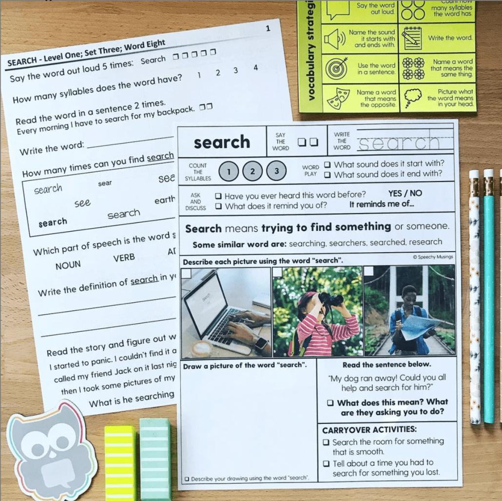 Vocabulary strategies worksheets